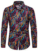 זול חולצות לגברים-גראפי / חיה / שבטי צווארון קלאסי פאנק & גותיות מועדונים חולצה - בגדי ריקוד גברים דפוס אודם / שרוול ארוך
