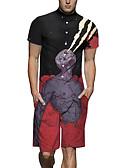 זול גברים סרבלים ואוברולים-XL XXL XXXL טלאים / דפוס קולור בלוק, Rompers ישר שחור בסיסי בגדי ריקוד גברים