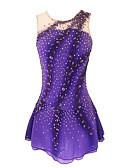abordables Robe de Patinage-Robe de Patinage Artistique Femme Fille Patinage Robes Violet Dos ouvert Spandex Haute élasticité Entraînement Compétition Tenue de Patinage Couleur Pleine Classique Cristal / Stras Sans Manches