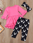 זול לבנים סטים של ביגוד לתינוקות-סט של בגדים כותנה שרוול ארוך דפוס פעיל / בסיסי בנות ילדים / פעוטות