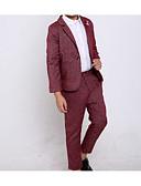 זול חליפות לנושאי הטבעת-בורגנדי / תלתן / אפור כותנה חליפה לנושא הטבעת  - 1set כולל מעיל / Pants / אביזרים
