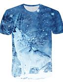 halpa Miesten t-paidat ja hihattomat paidat-Miesten Painettu 3D / Eläin Perus T-paita Vaalean sininen US40