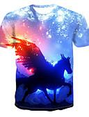 billige T-shirts og undertrøjer til herrer-Herre - 3D / Tegneserie Trykt mønster Basale / Gade T-shirt Blå L