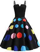 저렴한 여성 드레스-여성용 빈티지 A 라인 드레스 - 도트무늬, 패치 워크 프린트 무릎길이