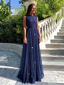 preiswerte Abendkleider-A-Linie Schmuck Boden-Länge Tüll Formeller Abend Kleid mit durch LAN TING Express