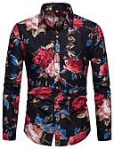 זול חולצות לגברים-פרחוני / גראפי צווארון קלאסי אלגנטית מועדונים כותנה, חולצה - בגדי ריקוד גברים דפוס פול / שרוול ארוך