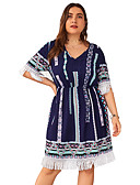 halpa Pluskokoiset mekot-Naisten Perus Katutyyli A-linja Tuppi Mekko - Geometrinen, Tupsu Painettu Reisipituinen