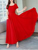 זול שמלות מקרית-מקסי קפלים, אחיד - שמלה סווינג סגנון רחוב אלגנטית בגדי ריקוד נשים