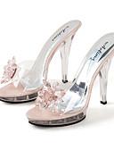 povoljno Maxi haljine-Žene Sandale Party Heels Kristalna peta Peep Toe Kristal PVC slatko / minimalizam Proljeće & Jesen / Proljeće ljeto Crn / Pink / Pink