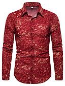 זול חולצות לגברים-פרחוני / גראפי / שבטי צווארון קלאסי פאנק & גותיות מועדונים חולצה - בגדי ריקוד גברים דפוס אודם / שרוול ארוך