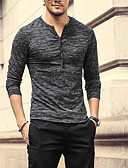 cheap Men's Shirts-Men's Daily Wear Shirt - Solid Colored Gray US36