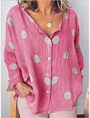 billige Skjorte-V-hals Løstsiddende Dame - Prikker Trykt mønster Basale Skjorte Hvid