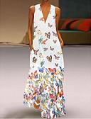 povoljno Maxi haljine-Žene Veći konfekcijski brojevi Plaža Boho Slim A kroj Haljina Životinja V izrez Maxi