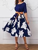 hesapli Vintage Kraliçesi-Kadın's Dışarı Çıkma Kayakçı Elbise - Çiçekli, Desen Midi / Büyük Bedenler