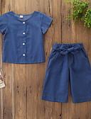 זול שמלות לבנות-סט של בגדים כותנה שרוולים קצרים אחיד פעיל / בסיסי בנות ילדים / פעוטות