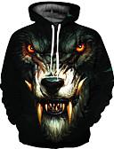 olcso Férfi pólók és pulóverek-Férfi Alap Bő Hoodie Jacket 3D / Állat Kapucni