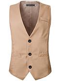 hesapli Erkek Blazerları ve Takım Elbiseleri-Erkek Vesta, Solid V Yaka Pamuklu Siyah / YAKUT / Açık Kahverengi XL / XXL / XXXL