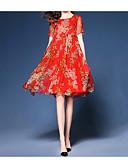 זול שמלות מודפסות-אדום עד הברך קפלים דפוס, פרחוני - שמלה משוחרר שיפון משי בוהו סגנון רחוב ליציאה חוף בגדי ריקוד נשים