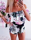זול סרבלים ואוברולים לנשים-M L XL דפוס פרחוני, Rompers רגל רחבה לבן בסיסי בגדי ריקוד נשים