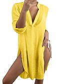 olcso Női ruhák-Női Tunika Ruha - Hasított, Egyszínű Midi Mély-V