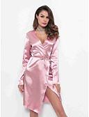 abordables Pijamas-Mujer Escote en V Profunda Satén y Seda Pijamas Un Color