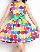 お買い得  女児 ドレス-幼児 水玉柄 波点 ノースリーブ ドレス レインボー