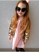 baratos Moletons Para Meninas-Infantil Para Meninas Básico Sólido Paetês Terno & Blazer Dourado