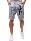 """זול טרנינגים וקפוצ'ונים לגברים-בגדי ריקוד גברים בסיסי האיחוד האירופי / ארה""""ב גודל משוחרר מכנסי טרנינג / שורטים מכנסיים - דפוס חיות מופלאות, דפוס כותנה שחור אפור L XL XXL"""