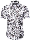 levne Pánské košile-Pánské - Květinový Košile Štíhlý Bílá / Krátký rukáv