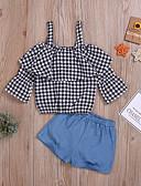 זול אוברולים טריים לתינוקות-סט של בגדים חצי שרוול אחיד / פסים בנות תִינוֹק