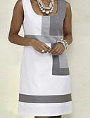 זול שמלות מיני-כתפיה מעל הברך קולור בלוק - שמלה גזרת A בסיסי בגדי ריקוד נשים