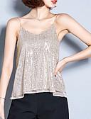 billige T-skjorter til damer-V-hals Singleter Dame - Ensfarget, Paljetter Grunnleggende Svart