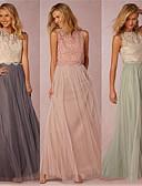 זול שמלות שושבינה-גזרת A עם תכשיטים עד הריצפה טול שמלה לשושבינה  עם תחרה על ידי JUDY&JULIA