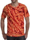 זול טישרטים לגופיות לגברים-3D צווארון עגול מידות גדולות טישרט - בגדי ריקוד גברים טלאים כתום / שרוולים קצרים