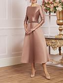 hesapli Gece Elbiseleri-A-Şekilli Taşlı Yaka Diz Altı Saten Kristal Detaylar ile Gelin Annesi Elbisesi tarafından LAN TING Express / Pullu ve Işıltılı