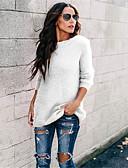 povoljno Ženski džemperi-Žene Jednobojni Dugih rukava Pullover, Okrugli izrez Proljeće / Jesen Fuksija / Svjetloplav / Vojska Green XL / XXL / XXXL