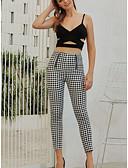 abordables Jupes-Femme Basique / Chic de Rue Mince Jogger Pantalon - Ecossais / à Carreaux Imprimé Taille haute M L XL