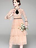 hesapli Print Dresses-Kadın's Temel Çin Stili A Şekilli Çan Elbise - Solid Zıt Renkli, Örümcek Ağı Kırk Yama Desen Midi