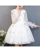 זול שמלות לילדות פרחים-נסיכה באורך  הברך שמלה לנערת הפרחים  - פוליאסטר / טול שרוול ארוך עם תכשיטים עם ריקמה / שכבות / Paillette על ידי LAN TING Express