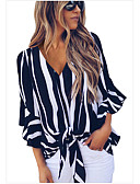 cheap Women's Shirts-Women's Daily Wear Basic Shirt - Striped Lace up V Neck Red