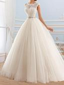 זול טוקסידו-נשף עם תכשיטים שובל סוויפ \ בראש תחרה / טול שמלות חתונה עם חרוזים / פפיון(ים) על ידי LAN TING Express
