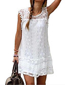 hesapli Mini Elbiseler-Kadın's Büyük Bedenler Zarif Dantelalar Kombinezon Kayakçı Elbise - Solid, Dantel Mini