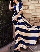 povoljno Maxi haljine-Žene Praznik Elegantno Swing kroj Haljina - Print, Prugasti uzorak Maxi Blue & White