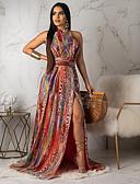 hesapli Maksi Elbiseler-Kadın's Temel Kombinezon Elbise - Geometrik, Desen Maksi