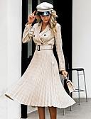 hesapli Günlük Elbiseler-Kadın's Temel A Şekilli Elbise - Pötikare, Eski Tip Tarz Gömlek Yaka Midi