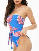 hesapli Bikiniler ve Mayolar-Kadın's Temel Havuz Bandeau Yarım Tanga Tek Parçalılar Mayolar - Çiçekli Arkasız Bağcık S M L Havuz