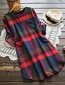 hesapli Mini Elbiseler-Kadın's Gömlek Elbise - Pötikare, Desen Diz-boyu