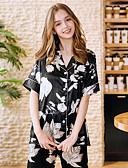abordables Pijamas-Mujer Estampado Traje Ropa de dormir Geométrico Negro M L XL / Cuello Camisero