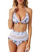 hesapli Bikiniler ve Mayolar-Kadın's Doğal Pembe Havuz Tankini Mayolar - Geometrik S M L Doğal Pembe