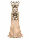 hesapli Mini Elbiseler-Trompet / Deniz Kızı Taşlı Yaka Süpürge / Fırça Kuyruk Polyester / Payetli Boncuklama / Payet ile Resmi Akşam Elbise tarafından LAN TING Express / Eski Tiplerden Esinlenilmiş